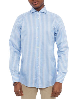 Eton Cotton/Linen Twill Striped Slim Shirt Blue