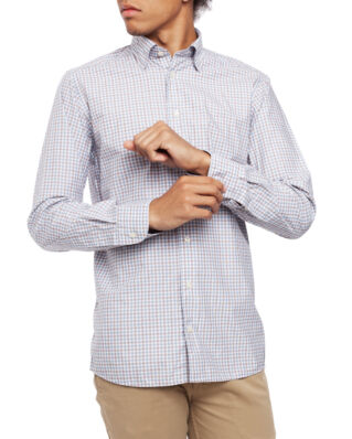 Eton Light Weight Twill Shirt Check Soft Light Blue