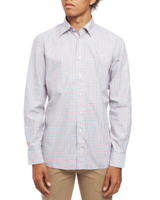 Eton Light Weight Twill Shirt Check Soft Orange