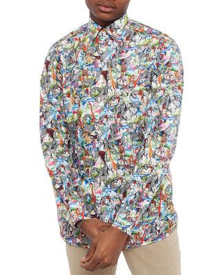 Eton Poplin Shirt Animal Print Multi