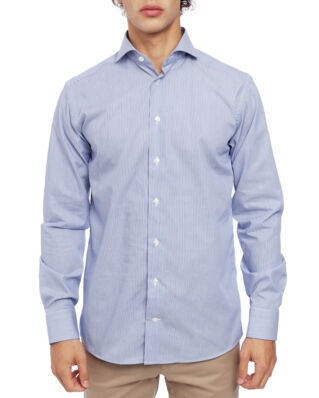 Eton Slim Fit Extreme Cut Away Poplin Shirt Dark Blue Stripe