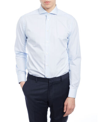 Eton Slim Fit Extreme Cut Away Poplin Shirt Light Blue Stripe