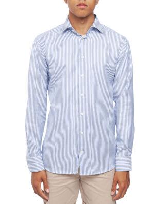 Eton Striped Cotton Twill Shirt Navy Blue