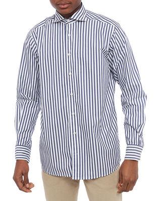 Eton Striped Lightweight Twill Cotton Shirt Blue