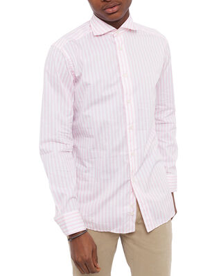 Eton Striped Lightweight Twill Cotton Shirt Pink/Red