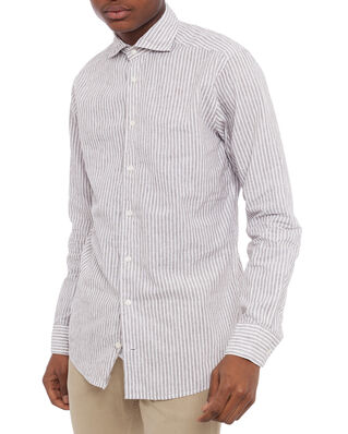 Eton Striped Linen Poplin Shirt White/Brown