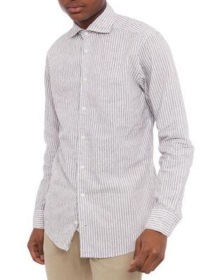 Eton Striped Linen Poplin Shirt White/Brown