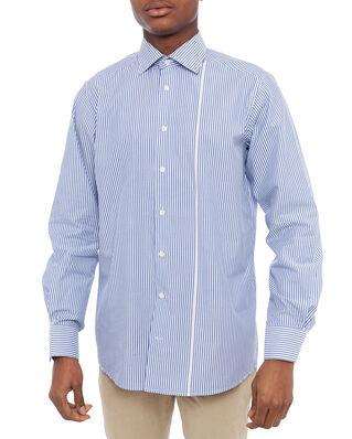 Eton Striped Poplin Shirt Blue