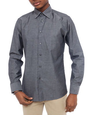Eton Textured Twill Linen Shirt Dark Grey
