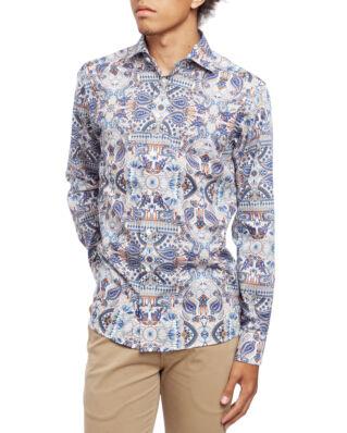 Eton Twill Shirt Slim Fit Paisly Print Blue