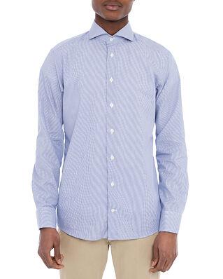 Eton Slim Fit Extreme Cut Away Poplin Shirt Dark Blue Stripe
