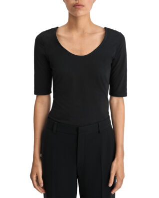 Filippa K Cotton Stretch Scoop Neck Top Black