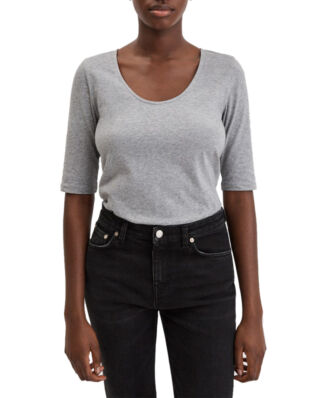 Filippa K Cotton Stretch Scoop Neck Top Grey Mel