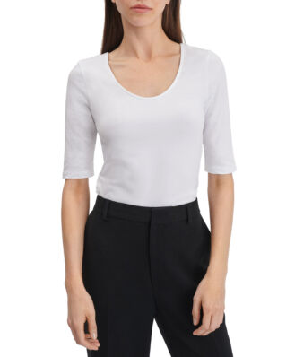 Filippa K Cotton Stretch Scoop Neck Top White