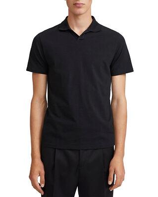 Filippa K M. Lycra Polo T-Shirt Black