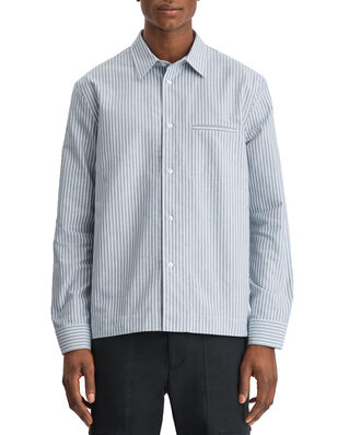 Filippa K M. Zach Striped Overshirt Blue Grey/White Stripe