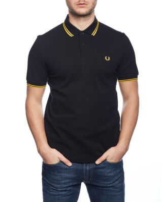 Fred Perry M3600 Twin Tipped FP Shirt Black/New Yellow