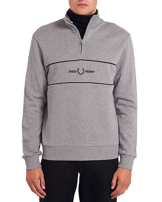 Fred Perry Emb Panel Half Zip Sweat. Steel Marl