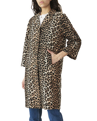 Ganni Linen Canvas Coat Leopard