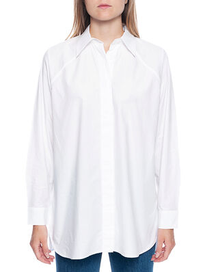 Ganni Cotton Poplin Long Shirt Bright White