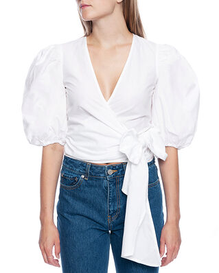 Ganni Cotton Poplin Wrap Blouse Bright White