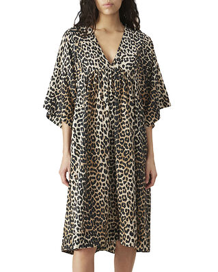 Ganni Cotton Silk Dress Leopard