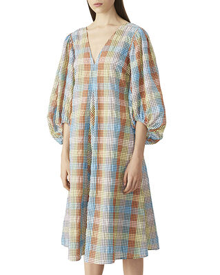 Ganni Seersucker Check Dress Multicolour