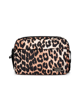 Ganni Recycled Tech Fabric Festival Bag Leopard