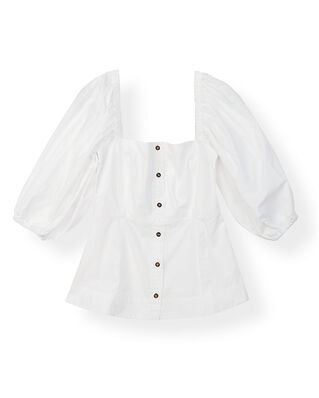Ganni Cotton Poplin Puff Sleeve Shirt Bright White