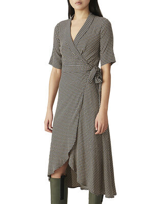 Ganni Printed Crepe Wrap Dress Tannin