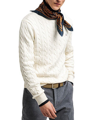 Gant Cotton Cable Crew Cream