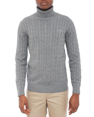 Gant Cotton Cable Turtle Neck Dark Grey Melange