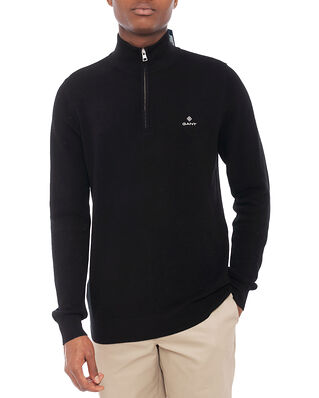 Gant Cotton Pique Half Zip Black