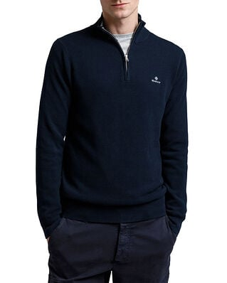 Gant Cotton Pique Half Zip Evening Blue
