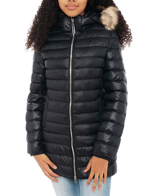 Gant D1. Long Faux Fur Puffer Jacket Black