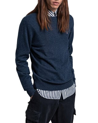 Gant Superfine Lambswool Crew Dark Navy Melange