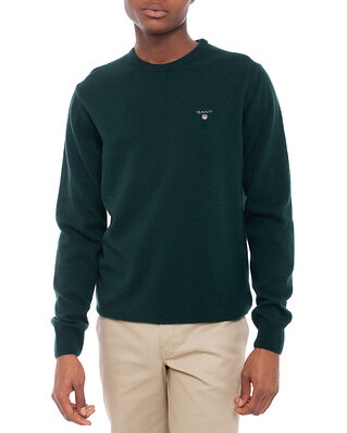 Gant Superfine Lambswool Crew Tartan Green