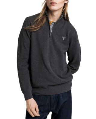 Gant Cotton Pique Half Zip Antracit Melange