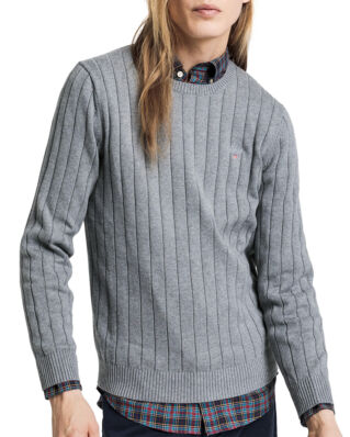 Gant Cotton Rib Crew Dark Grey Melange