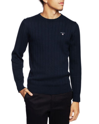 Gant Cotton Rib Crew Evening Blue