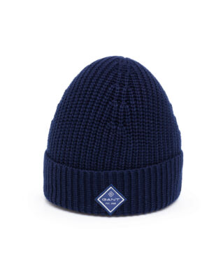 Gant Cotton Rib Knit Hat Marine