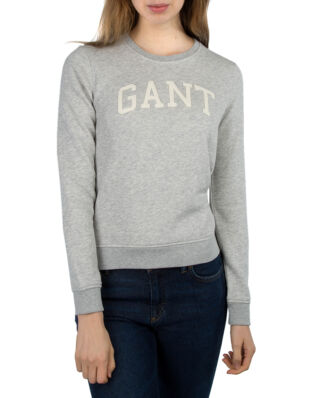 Gant O1. Arch Logo Sweat Light Grey Melange