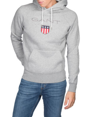 Gant O1. Gant Shield Sweat Hoodie Grey Melange