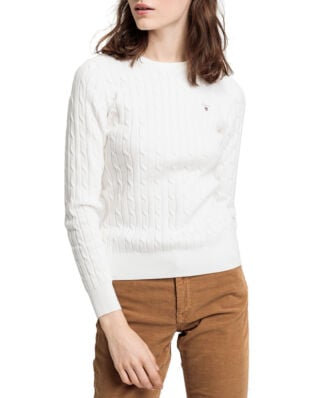 Gant Stretch Cotton Cable Crew Eggshell