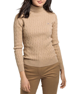 Gant Stretch Cotton Cable Turtle Neck Sand Melange