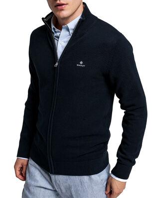 Gant Cotton Pique Zip Cardigan Evening Blue