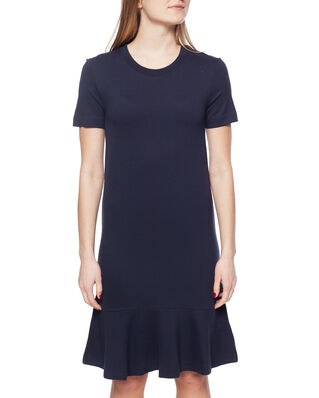 Gant D1. Flounce Detail Jersey Dress Evening Blue