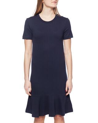 Gant D1. Flounce Detail Jersey Dress Evening Blue