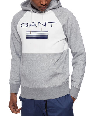 Gant D1. Gant Stripe Sweat Hoodie Grey Melange