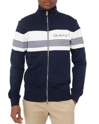Gant D1.Gant Stripe Sweat Zip Through Evening Blue